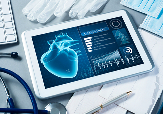 iPad with health technology displayed